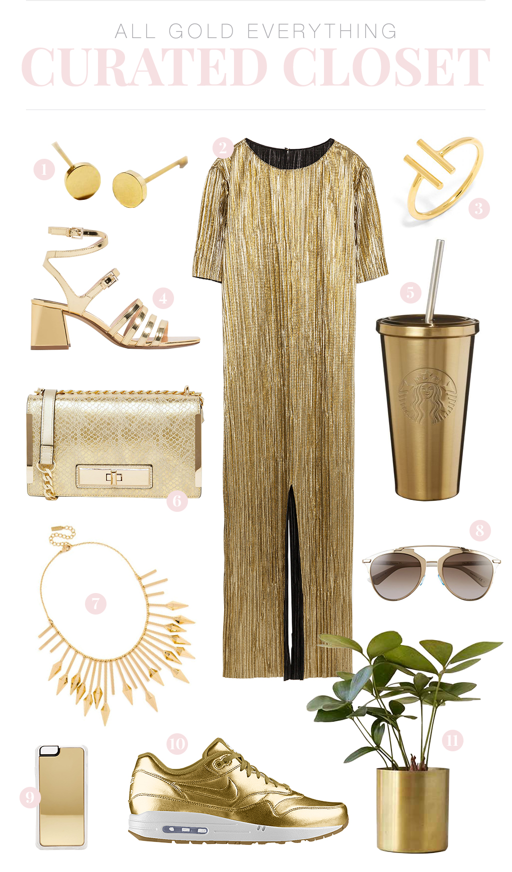 A curated closet of my favorite of-the-moment gold clothes, accessories, shoes, and more! | http://www.wovenwithgold.com