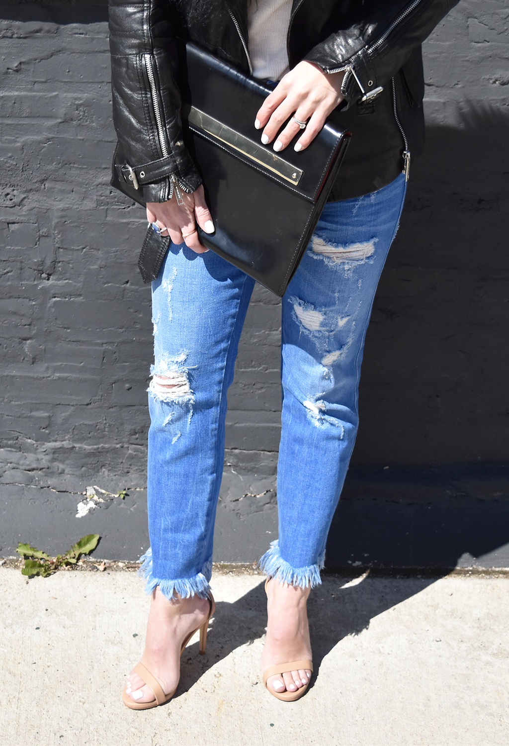 Amp Up Your Casual Look | H&M Sunglasses, River Island Black Leather Jacket with Faux Mongolian Fur, H&M White T-Shirt, Zara Ripped Jeans, Zara Clutch, Steve Madden 'Stecy' Sandal Heels