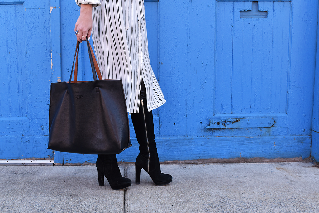 Black & White | Vol 2 | Target Who What Wear Dress, Michael Michael Kors Black Suede Boots, Street Level Black and Cognac Reversible Tote