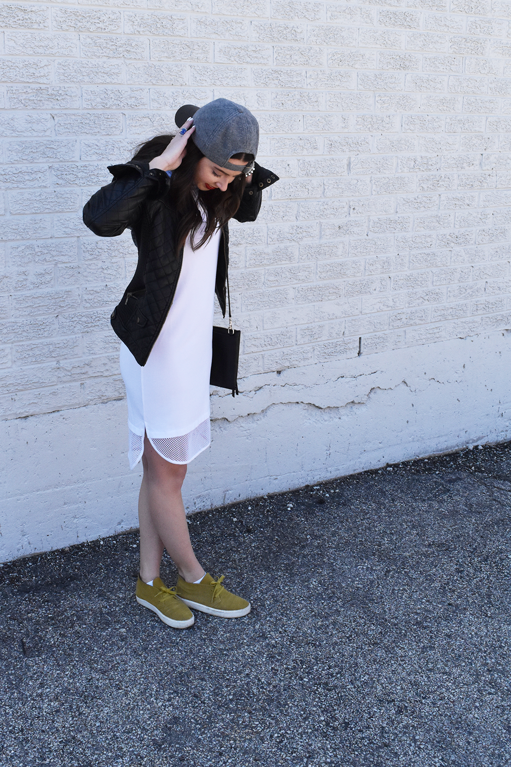 Everyday Athleisure | Forever 21 White Mesh Dress, Zara Black Leather Jacket, J.Crew Leather Hat, Vince Green Tennis Shoes, Coach Bag