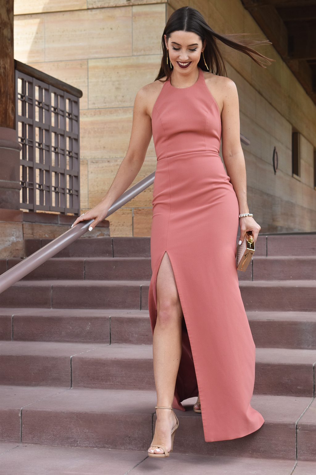 A Black Tie-Affair | Rent the Runway Elizabeth and James Gown, Rent the Runway Inge Christopher White Corsica Scale Clutch, Steve Madden Stecy Two-Piece Sandals, Rent the Runway Gorjana Accessories Mave Double Drop Earrings