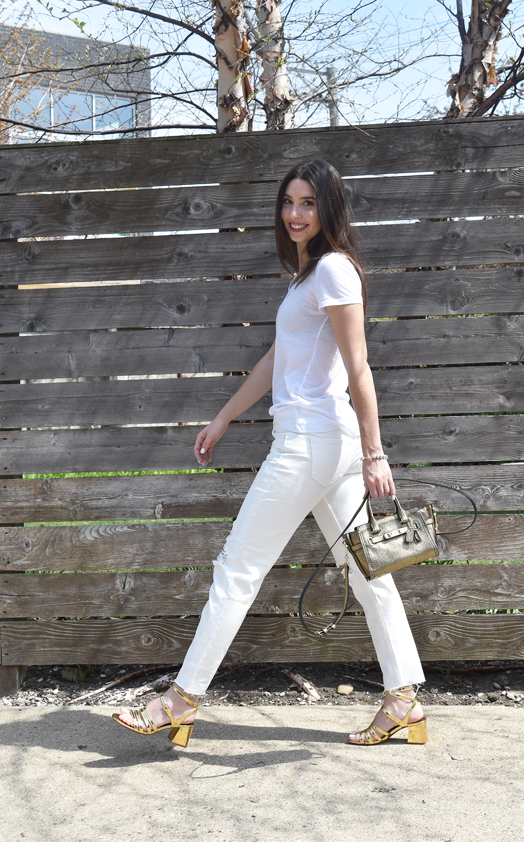 Simplicity in the Basics | Abound White V-neck T-shirt, H&M White Girlfriend Jeans, Zara Gold Block Heeled Sandals, Coach Swagger 20 Gold Crossbody Bag