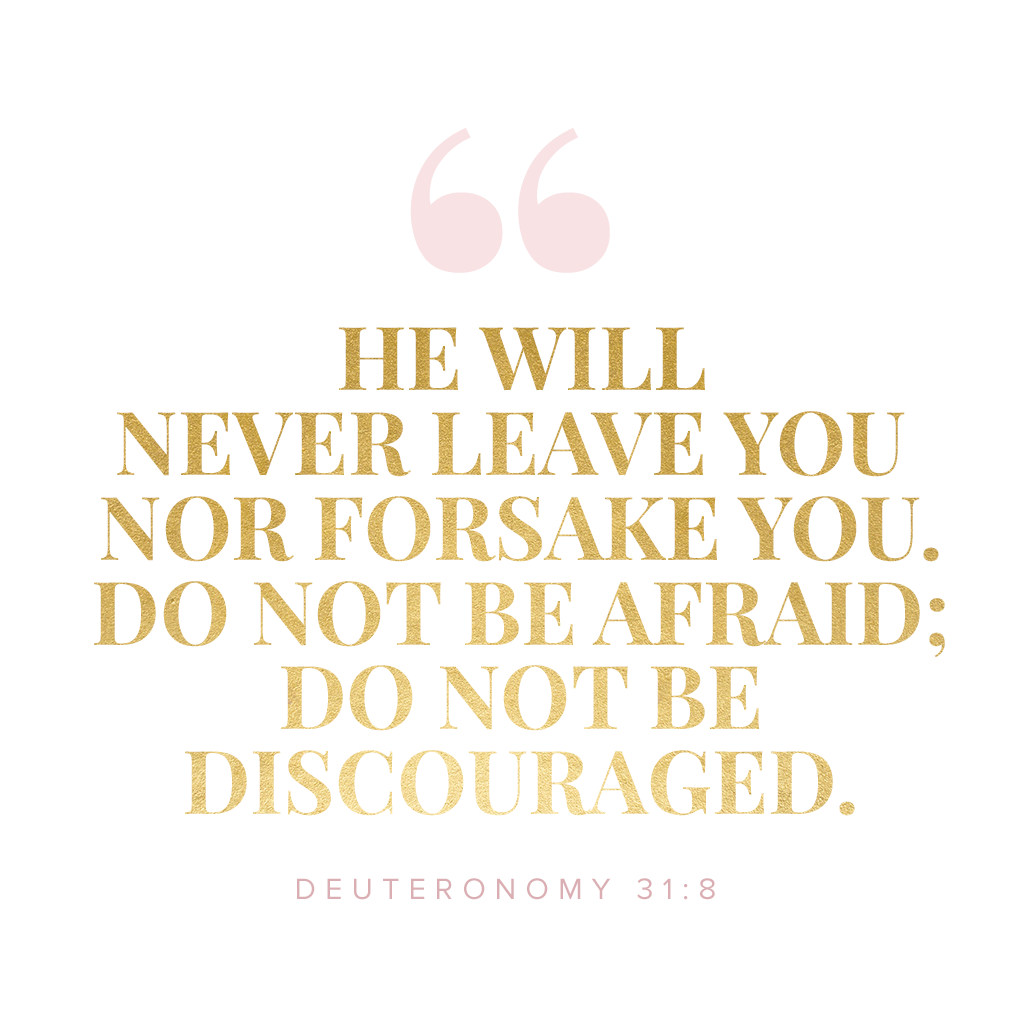 The Lord himself goes before you and will be with you; he will never leave you nor forsake you. Do not be afraid; do not be discouraged. Deuteronomy 31:8