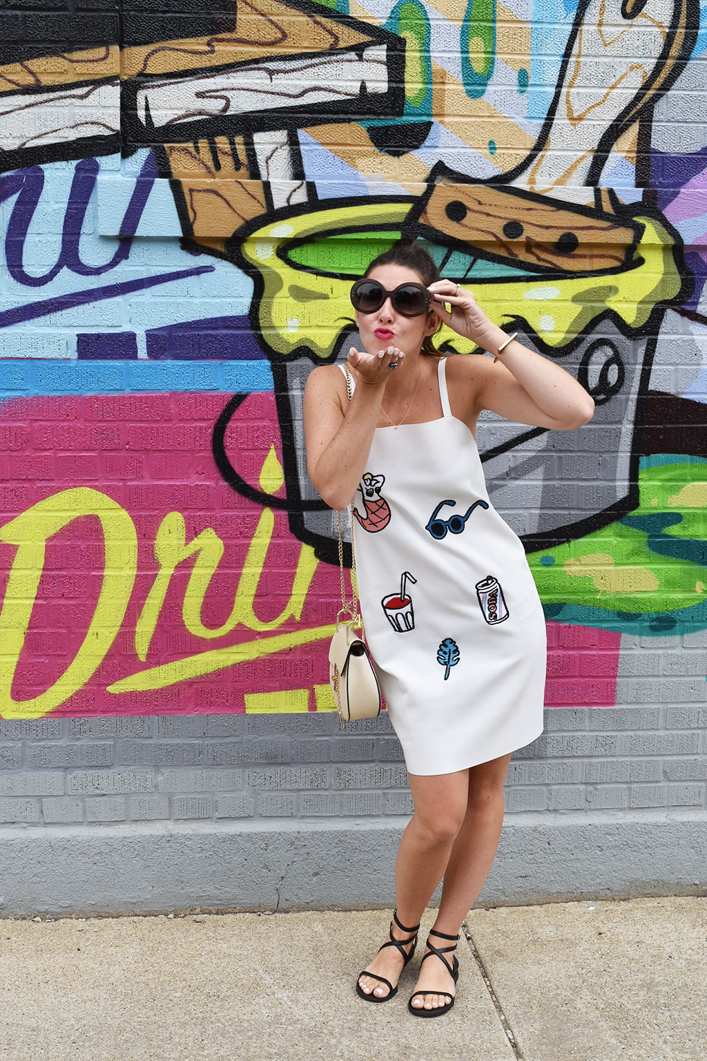 Fashion is Art | Zara White Embroidered Dress, Michael Kors Black Sandals, SheIn Faux Leather Chain Saddle Bag