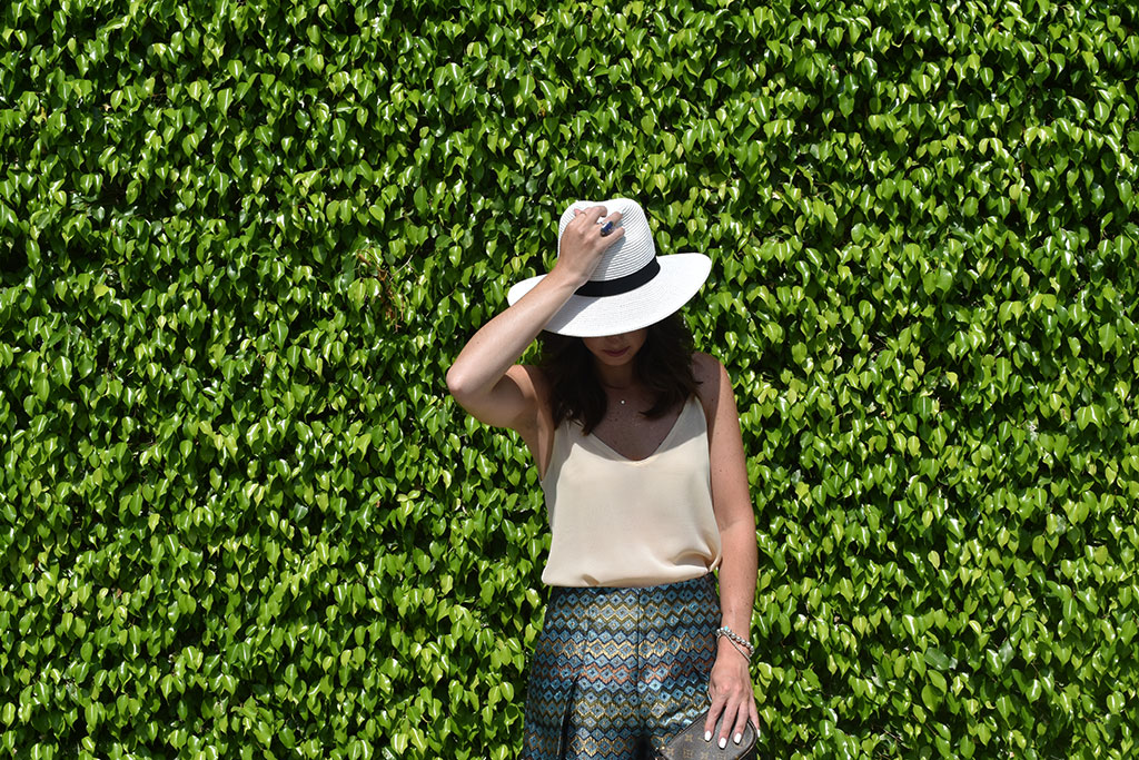 Summer Patterns | H&M Camisole Chiffon Top, H&M Patterned Shorts, Target White Hat, Sam Edelman Trina Sandal