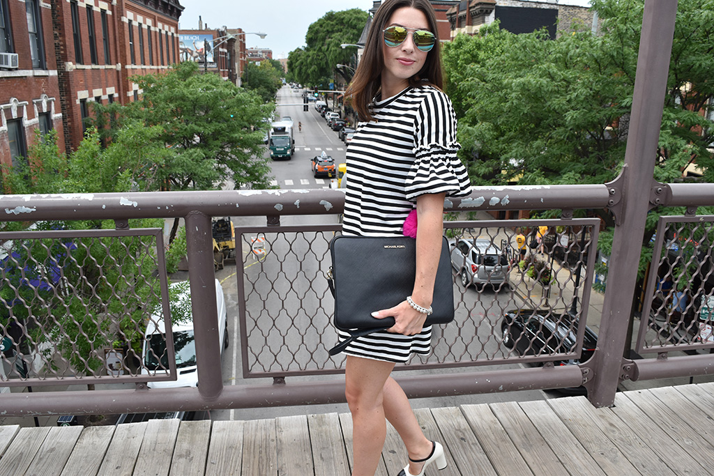 Classic Stripes | SheIn Striped Ruffeled Sleeve Swing Dress, Marc by Marc Jacobs MaryJane Heels, Michael Michael Kors Computer Bag, H&M Aviator Sunglasses, Tiffany's Silver Beaded Bracelets