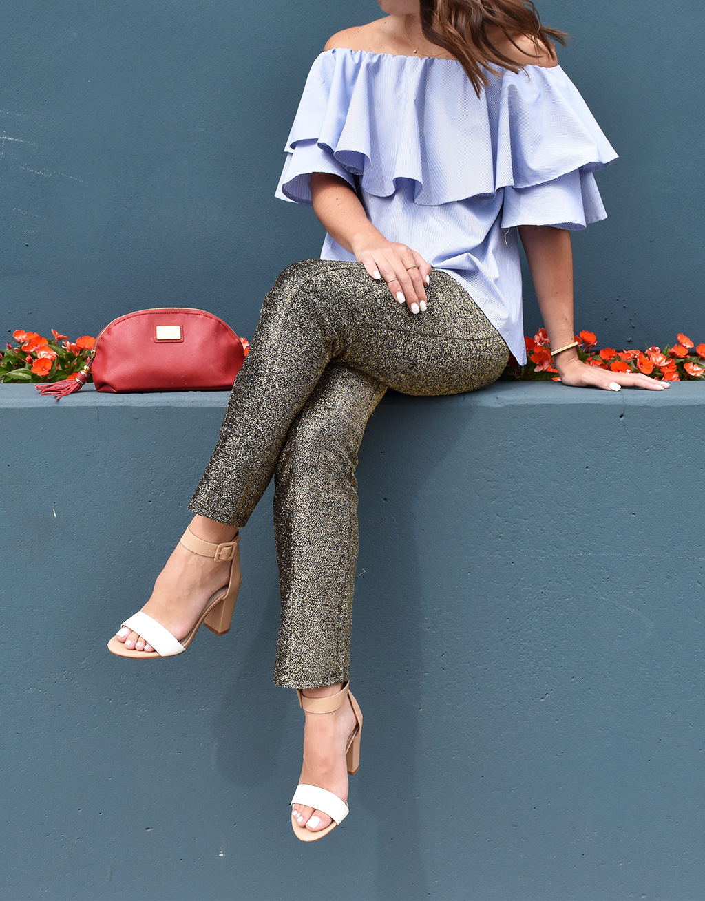 For the Red, White, and Blue | SheIn Off-the-Shoulder Top, H&M Gold Sequined Pants, Zara Chunky Heeled Sandals, Morelle & Co Mirriam Saffiano Leather Cosmetic Bag, Jennifer Fisher Bracelet