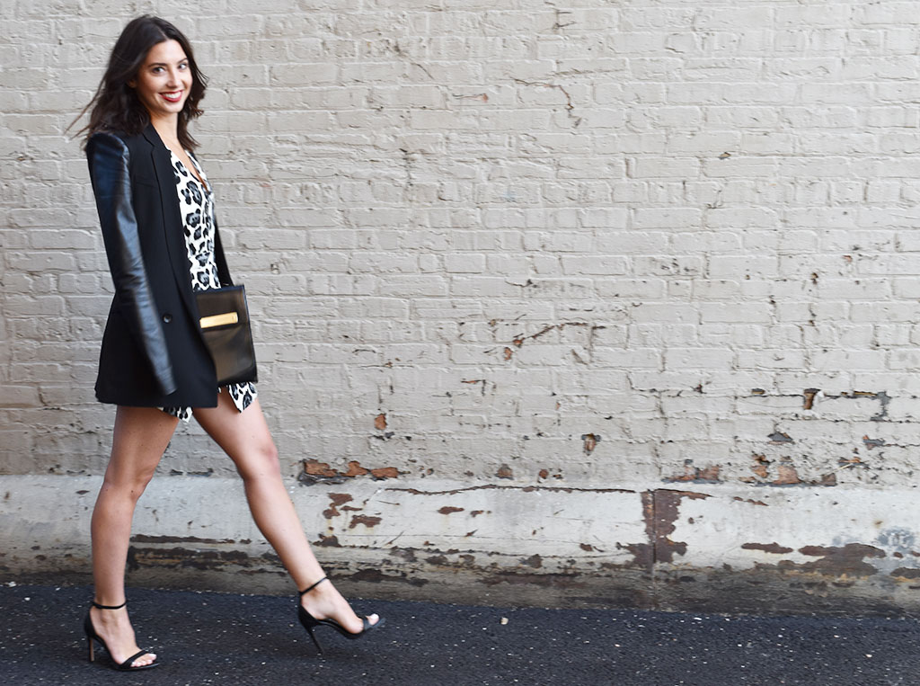 Romping Around in a Heat Wave | Target Animal Print Romper, BCBG Max Zaria Blazer with Faux Leather Sleeves, Zara Black Heeled Sandals, Zara Black Envelope Clutch
