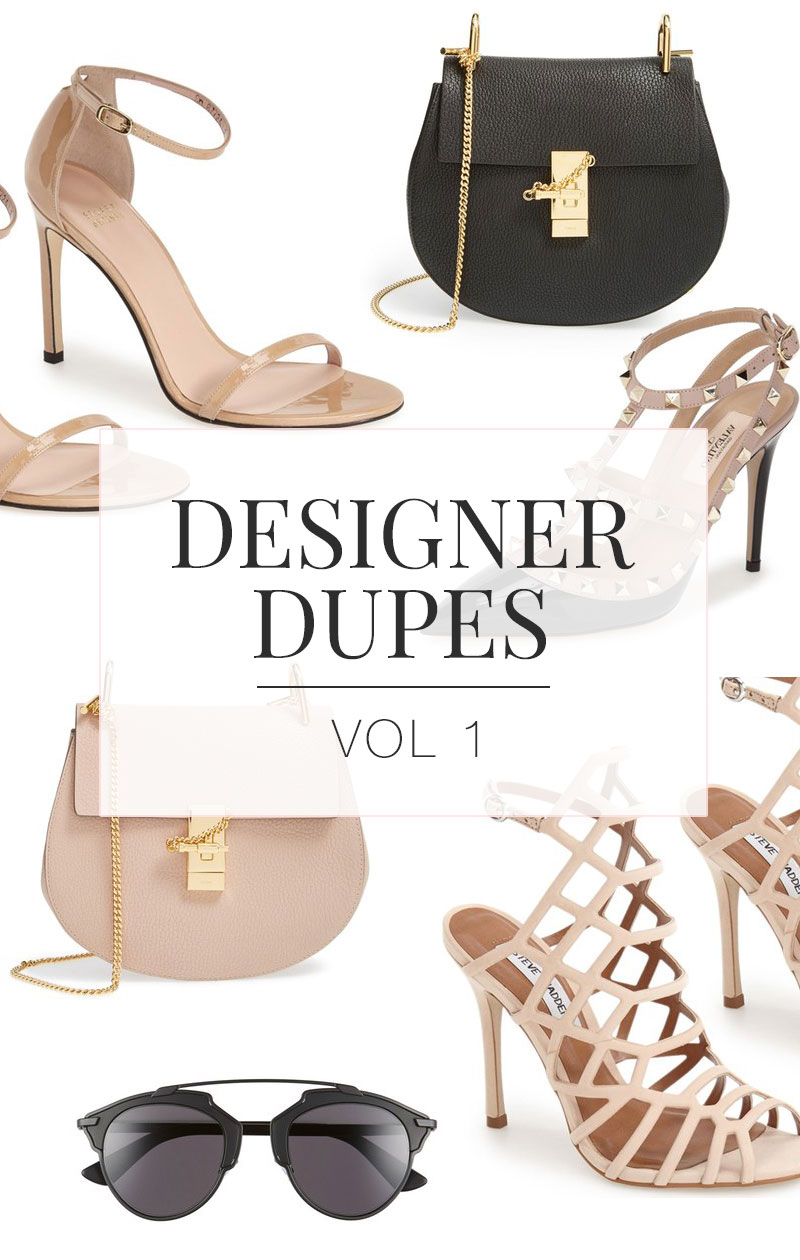 Designer Dupes & Look Alikes | Chloé 'Drew' Leather Crossbody Bag Look alike, Dior 'So Real' 48mm Sunglasses Look alike, Stuart Wietzman 'Nudistsong' Ankle Strap Sandal Look alike, Steve Madden 'Slithur' Sandal Look alike, Valentino 'Rockstud' T-Strap Pump Look alike