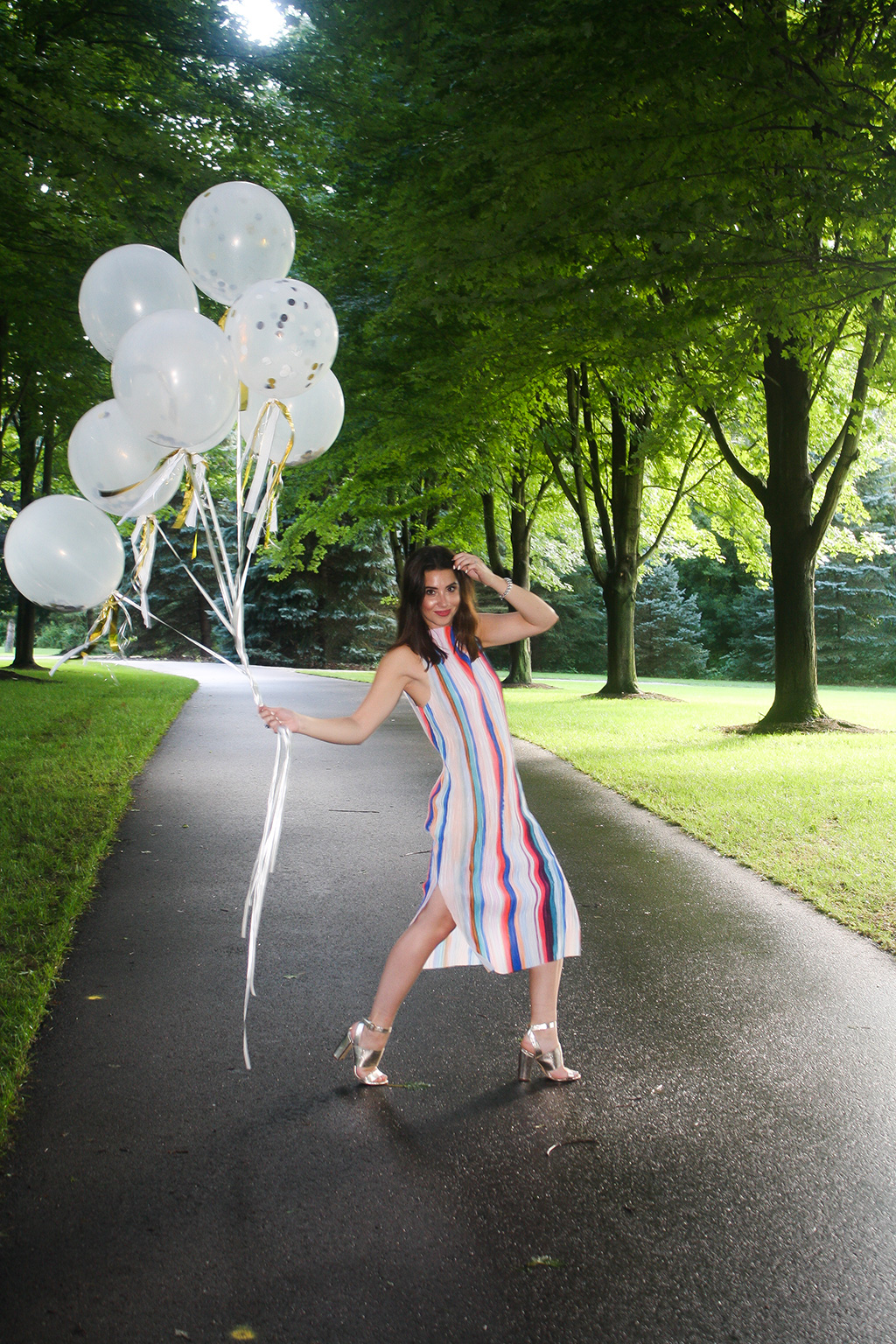 Fiesta Ready | H&M Multi-Color Striped Dress, Forever 21 Gold Chunky Heels, Paperless Post Confetti Balloons