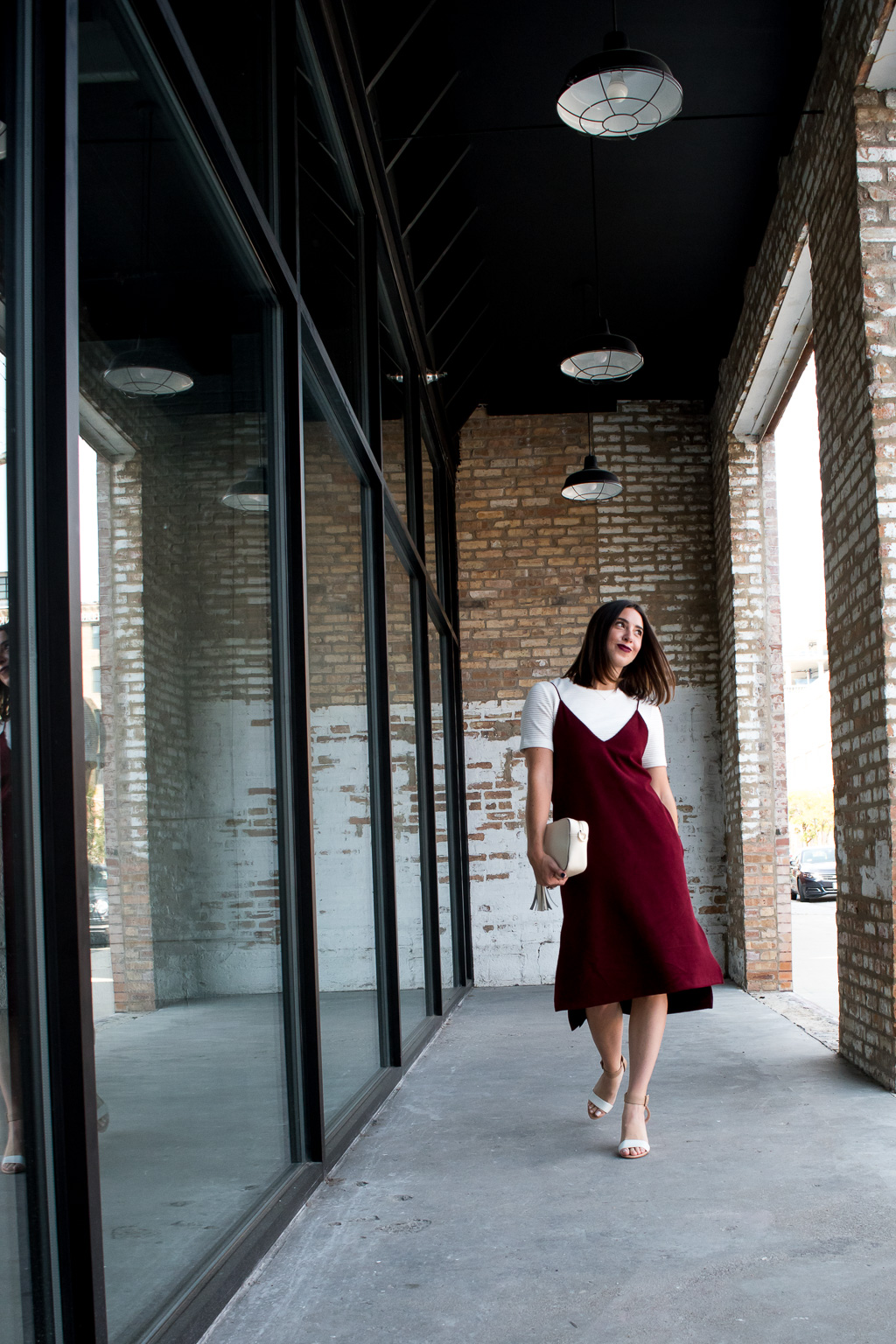 Creative Layering Fashion for Fall   Martel Burgundy Velvet Slip Dress, H&M White Ribbed Dress, KC Jagger Nude Cross Body Bag, Lori's Shoes Armitage Avenue Furry Key Chain, and Zara Nude & White Block Chunky Heeled Sandals