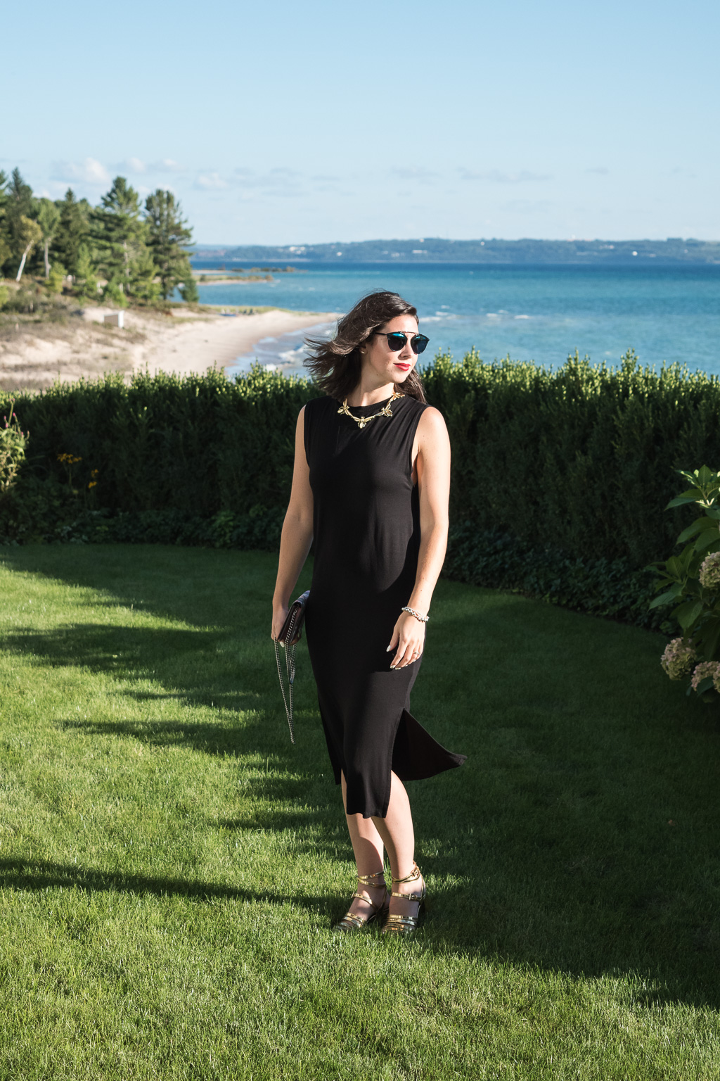 Lake House Getaway in Harbor Springs, Michigan   H&M Black Cotton Dress, Gucci GG Blooms Supreme Chain Wallet, Dior Black So Real Sunglasses, Zara Gold Heeled Sandals