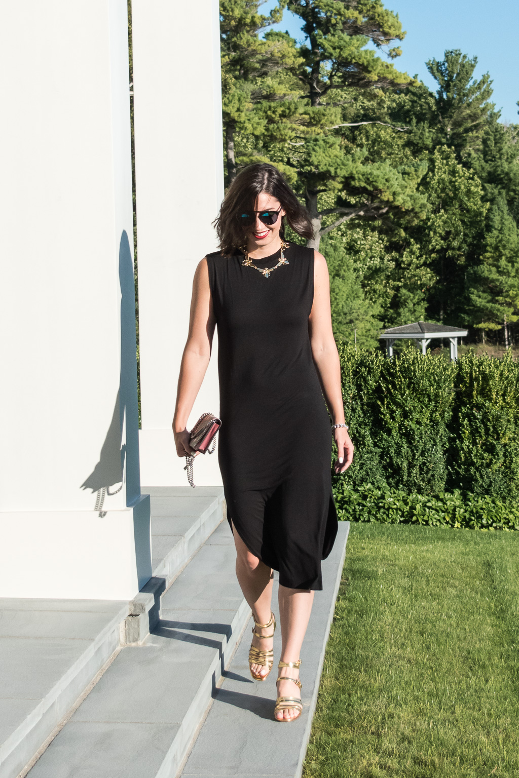Lake House Getaway in Harbor Springs, Michigan | H&M Black Cotton Dress, Gucci GG Blooms Supreme Chain Wallet, Dior Black So Real Sunglasses, Zara Gold Heeled Sandals