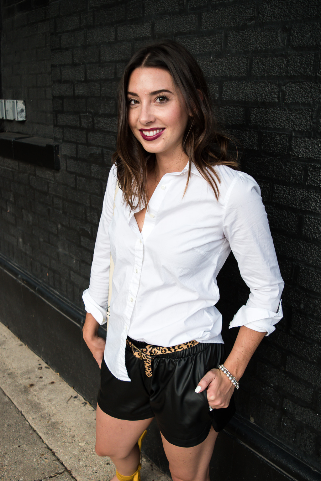 Transitioning to Fall with Faux Leather Shorts   J.Crew White Button Down Blouse, SheIn Faux Leather Shorts, Target Leapard Print Calf Hair Belt, Topshop Mustard Pointed Toe Lace Up Flats