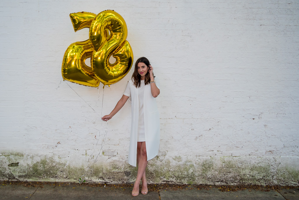 An Outfit that's Birthday Ready   H&M White Ribbed Dress, Zara White Vest, Steve Madden Nude Heels